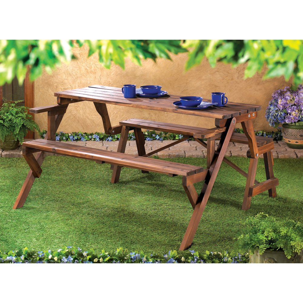 Amazon.com : Folding Convertible Outdoor Bench Garden Picnic Table : Garden  U0026 Outdoor