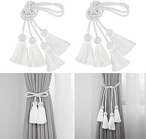 Porlau 4 Pack Curtain Tiebacks Rope Handmade Tassel Tie Backs Curtain Holdbacks for Office Home Decorative Drapery Tiebacks- White