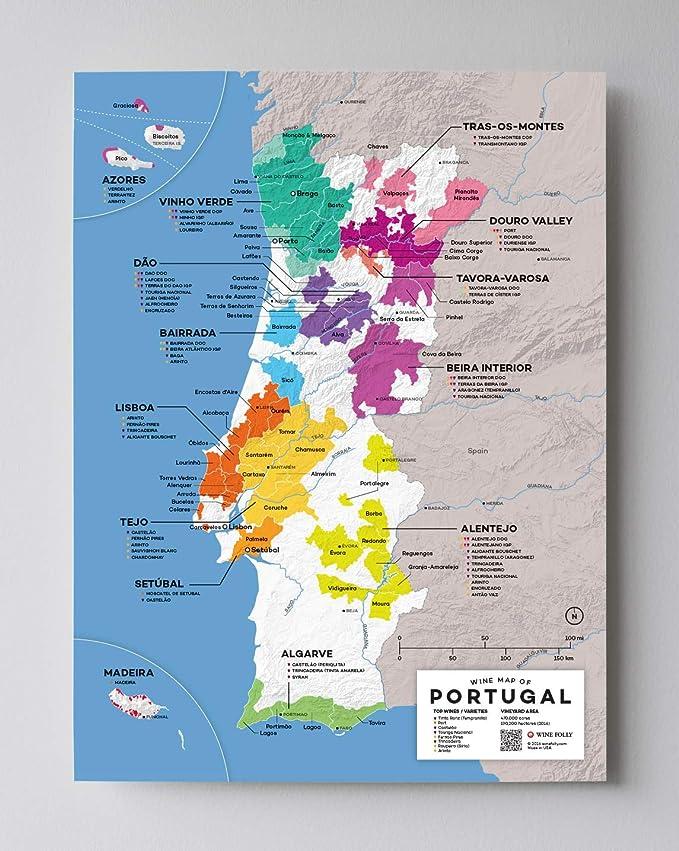 Póster con diseño de mapa de vino de Portugal, 30,5 x 40,6 cm: Amazon.es: Hogar