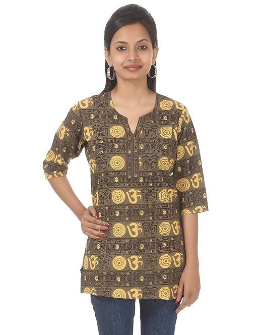 Hermosa Impreso Algodón blusa Verde OM XL Para Mujer Por Rajrang
