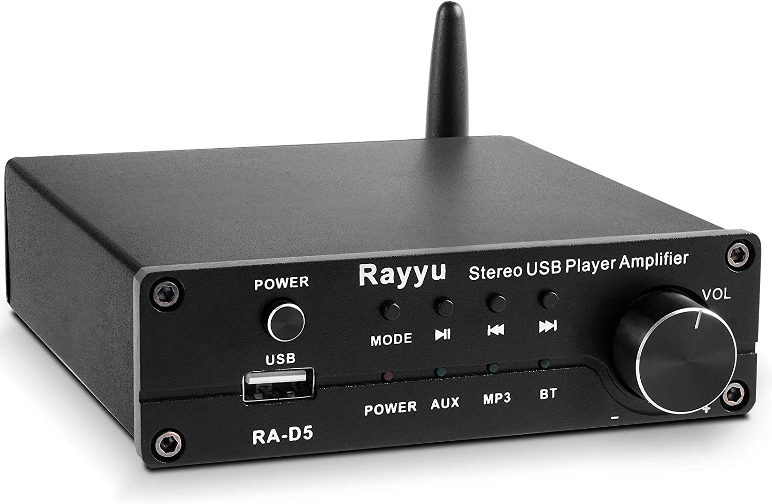 Rayyu Professional Mini Hi-Fi Digital MP3 Amplifier Mobile App Control 2x160W Bluetooth 5.0 Power Amplifier Home Theater Stereo Audio USB Player Amplifier 2 Channel - Power Adapter Not Included RA-D5
