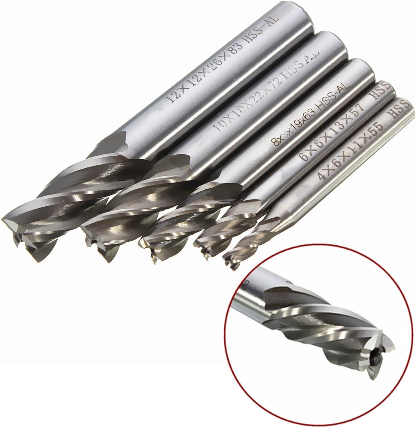 8mm HSS CNC Straight Shank 4 Flute End Mill Cutter Drill Bit Tool Durable