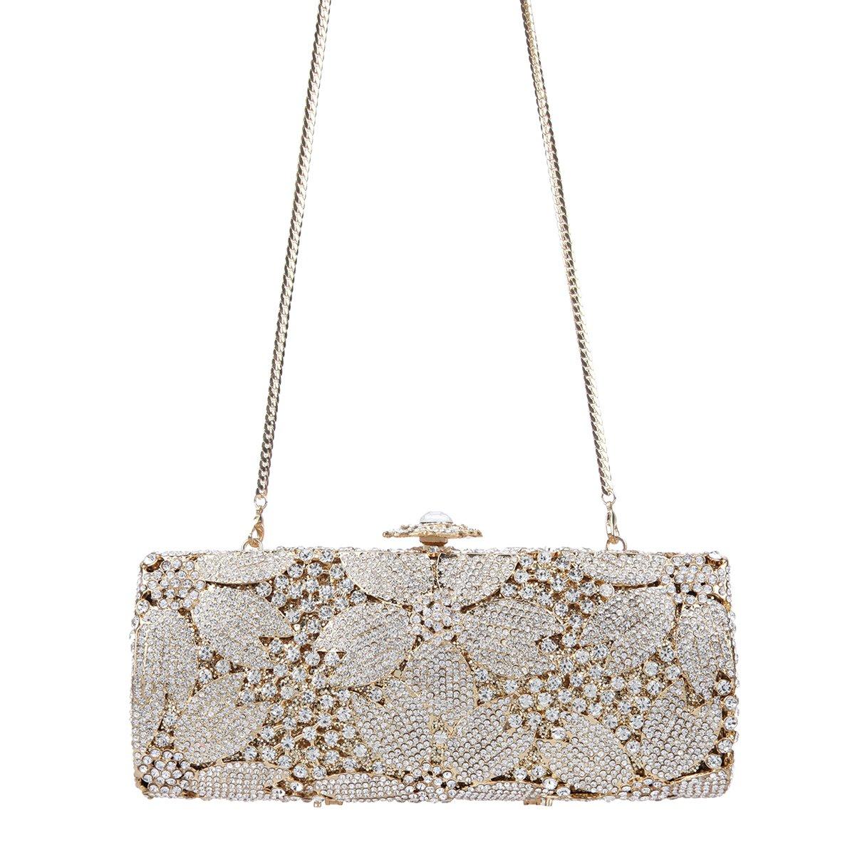 Fawziya Sakura Flower Hard Case Purse Luxury Crystal Evening Clutch Handbag