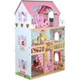 Tall Wooden Girls Dolls House 3 Storey Town Mansion + Play Furniture Decoration Accessories