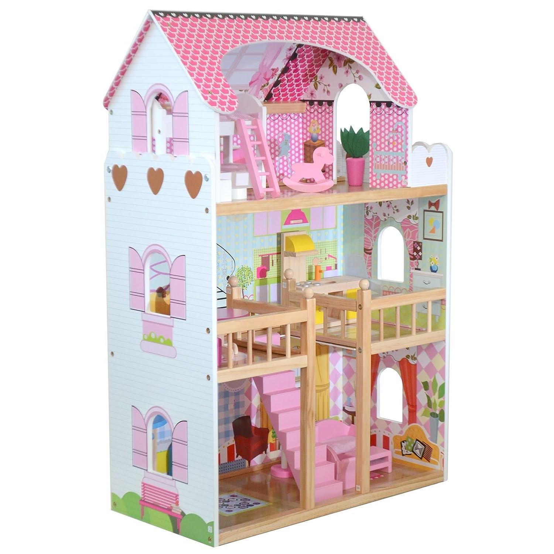boppi® Casa de muñecas de madera para niñas con pisos villa de