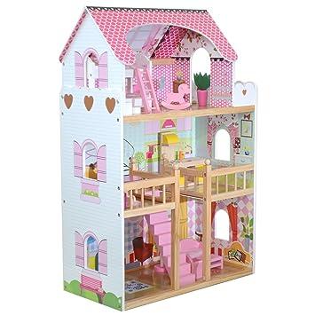 Amazon.es: boppi® Casa De Muñecas De Madera para Niñas 3 Pisos Y 17 Accesorios/Muebles para Jugar: Juguetes y juegos