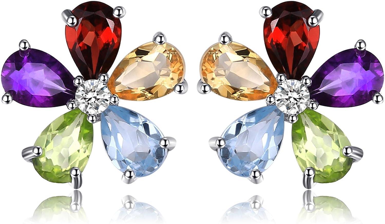 JewelryPalace Flor de las mujeres 4.3ct Multicolor Natural Amatista Citrine Garnet Peridot Blue Topaz Stud Pendientes Plata de ley 925