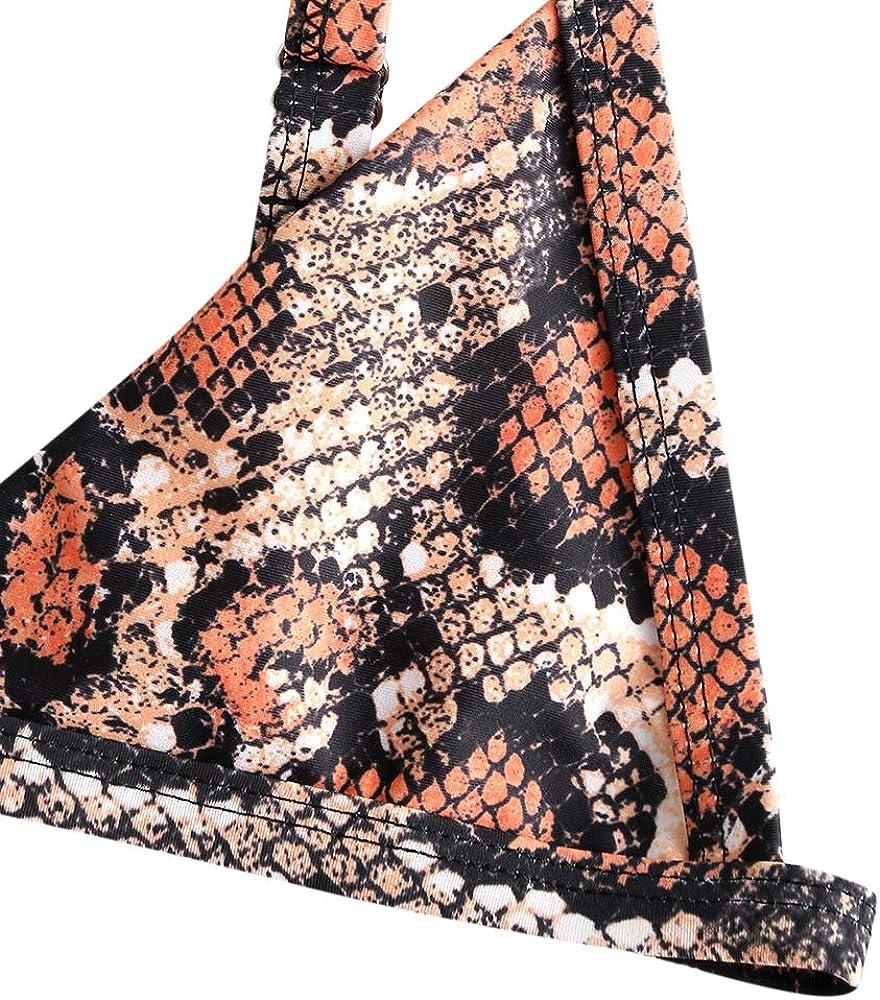 Bikini da Donna in Pelle di Serpente con Stampa a V Profonda Taglio Alto ZAFUL Leopardato