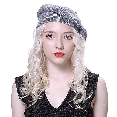 b95e34c44e7f URSFUR Femme Bonnet Béret en laine et Peintre Chapeau Printemps ou Hiver  Gris