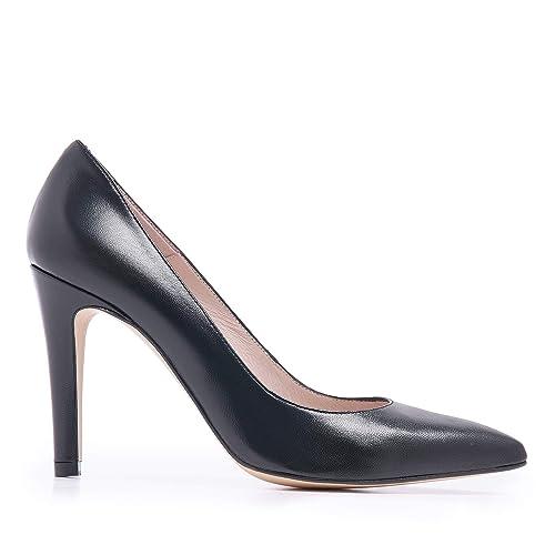 Negro Castellanísimos Con Tacón Mujer Salón Castellanisimos De Zapato Piel ZUvWp1Z