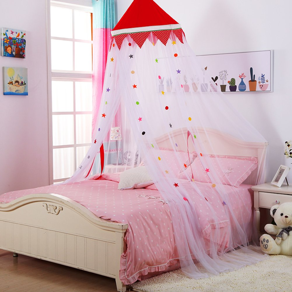 DE&QW Colorful children's room ceiling type princess mosquito net, Dome Floor Baby bed canopy mosquito curtain -A Twin2