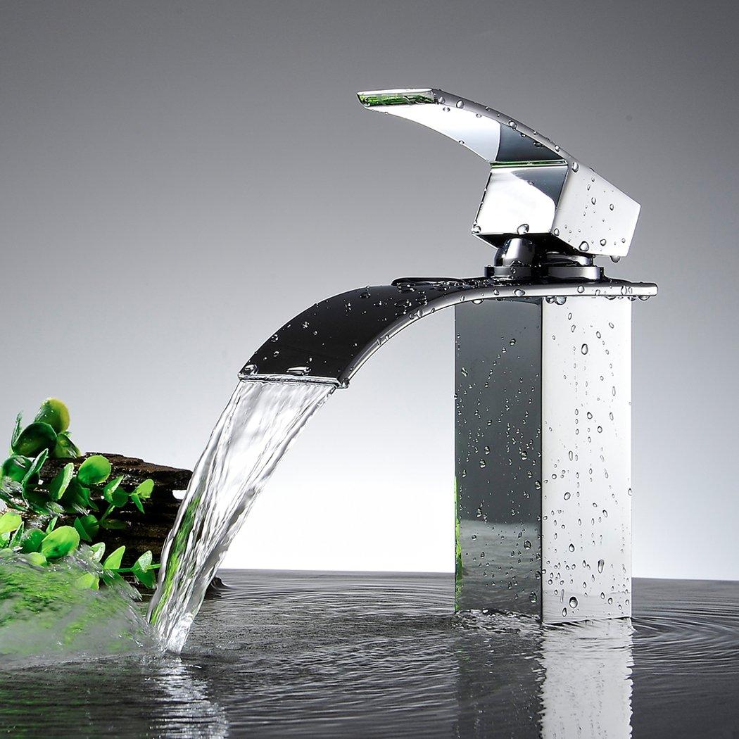 KINSE® Design Zeitgenössische Wasserfall Badewanne Wasserhahn ... | {Badewannen armaturen wasserfall 78}
