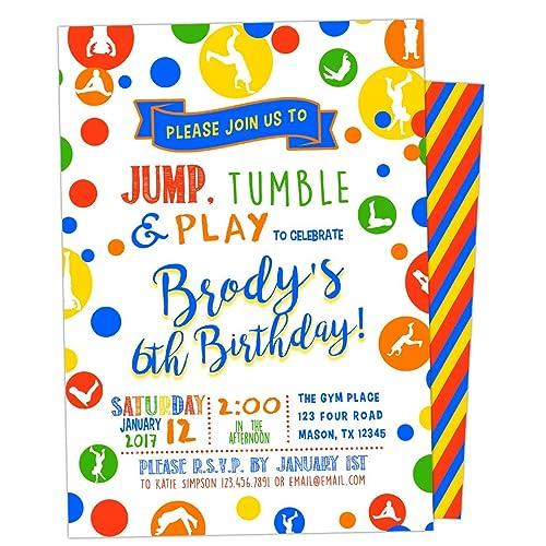 amazon com jump tumble play gym birthday invitations boy or girl