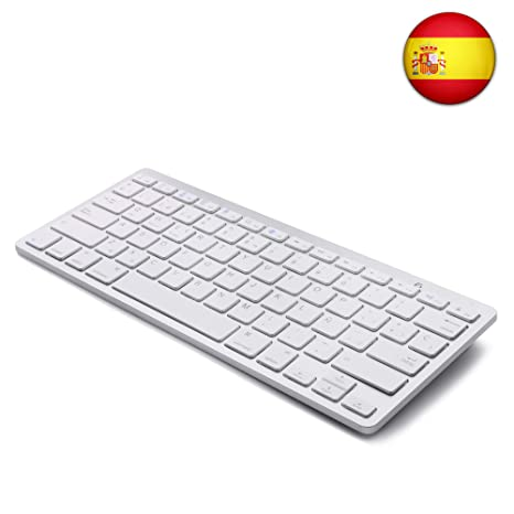 Tableta Teclado Bluetooth, Boriyuan Teclado inalámbrico en español para Mac iPad iPhone iOS Android Windows