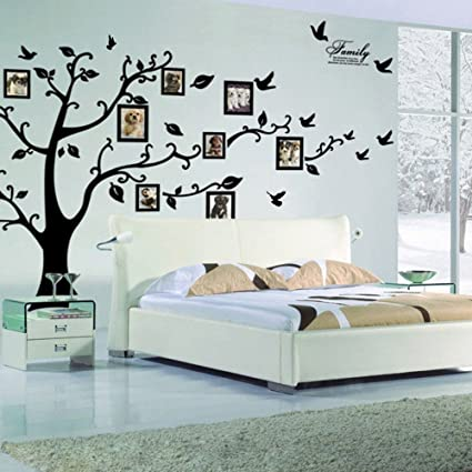 Lovely Black 3D DIY Photo Tree PVC Wall Decals Adhesive Family Wall Stickers Mural Art  Home Decor