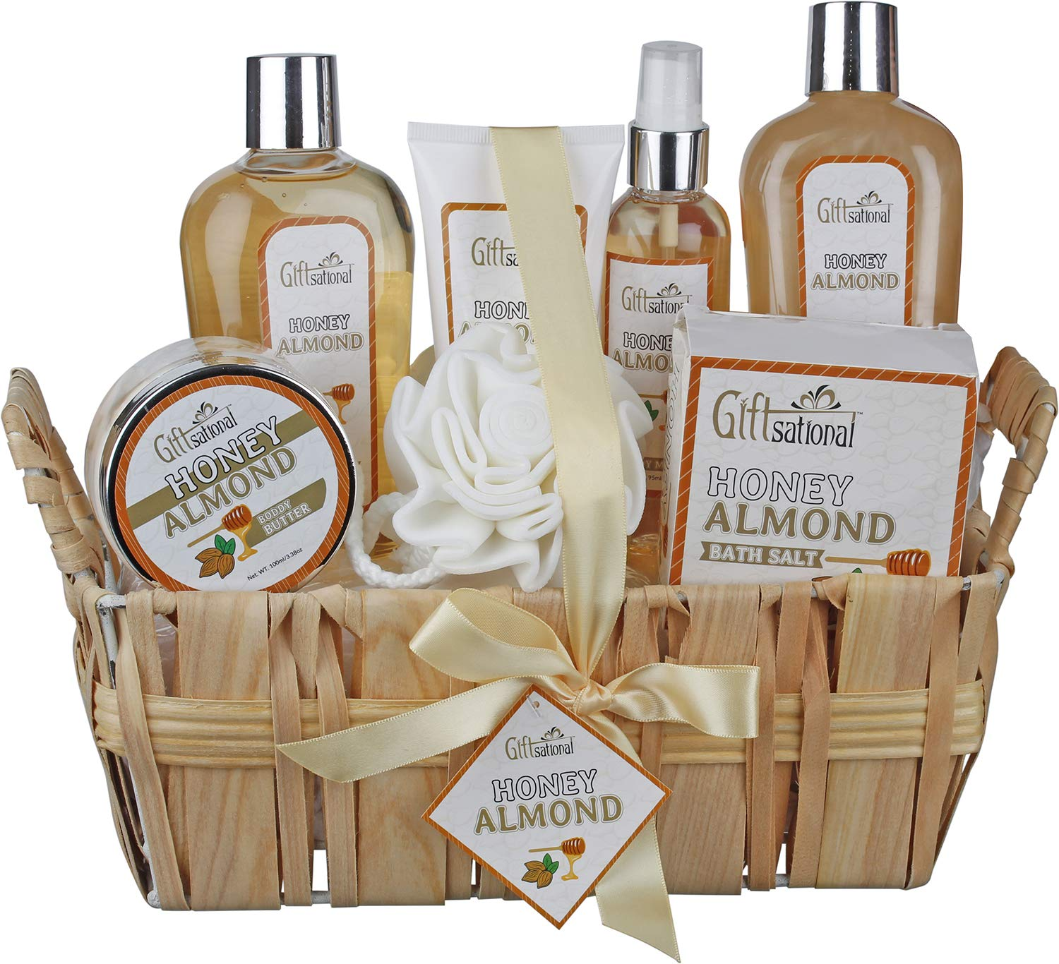 Spa Gift Basket with Honey Almond Fragrance, Includes Shower Gel, Bubble Bath, Body Lotion, Body Butter, and Much More, Great Birthday Anniversary or Christmas Gift for Women and Girls