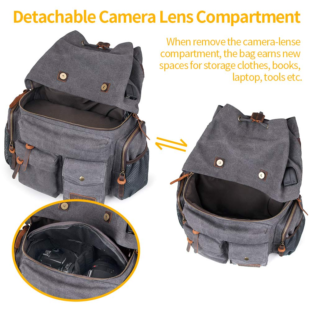 8e2d186d4e6f Bingua.com - P.KU.VDSL Canvas Camera Backpack