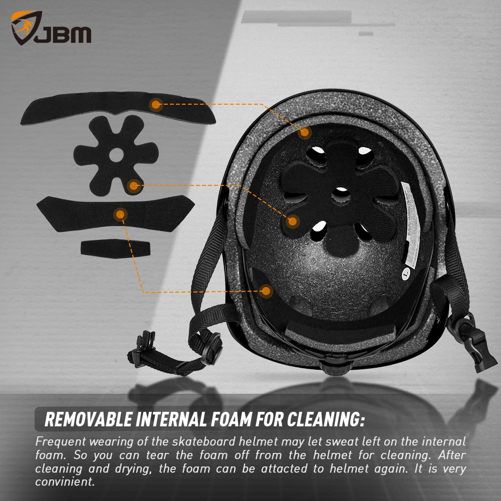 JBM Helmet for Multi-Sports Bike Cycling, Skateboarding, Scooter, BMX Biking, Two Wheel Electric Board and Other Sports [Impact Resistance] (Black, Adult) by JBM international (Image #4)