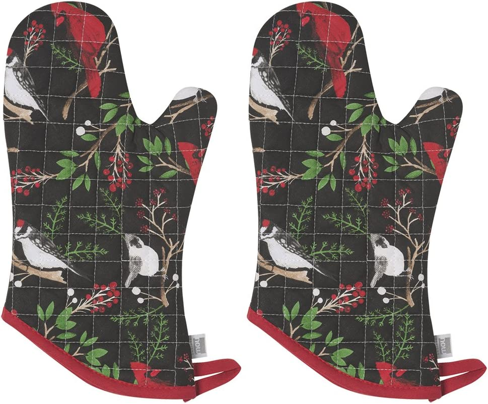 Now Designs Basic Oven Mitt, Winter Birds - 6.5 x 13 in | Set of 2