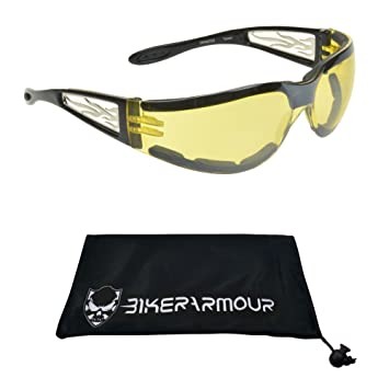 801b2c548d2 Amazon.com  Foam Padded Motorcycle Glasses Night for Men and Women with  Chrome Flame Design with Yellow Polycarbonate Safety Lens.