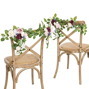 Ling's moment Rustic Christmas Marsala Wedding Chair Decoration for Bride Groom Set of 2 Arch Flowers Decor for Bridal Shower Rehearsal Dinner Wedding Reception Decoration