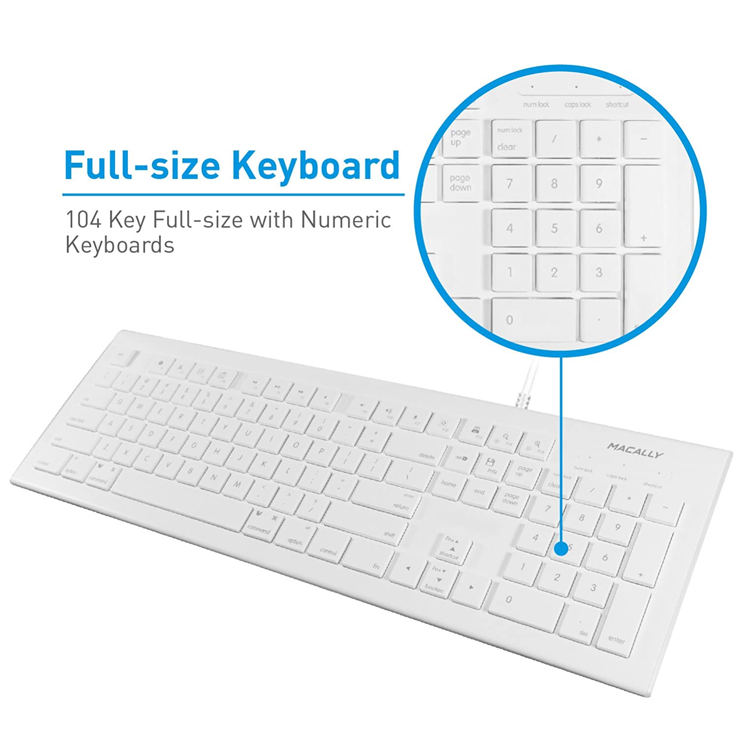 Macally Full Size Usb Wired Keyboard Mkeye For Mac And Remove The Casing Of Hub Keypad Circuit Boards Pc White W Shortcut Hot Keys Computers Accessories