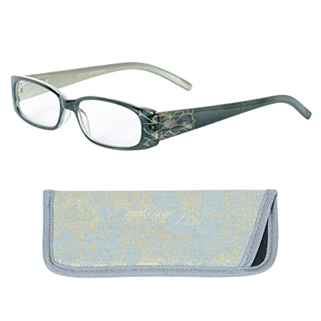 104e656767d Sight Station Womens Reading Glasses with Case Blue Green Teal Gold Frames  Temple Flower Detail Specs Readers +1.00  Amazon.co.uk  Health   Personal  Care