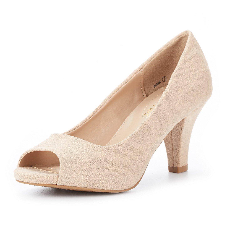 DREAM PAIRS Women's Susan Nude Fashion Stilettos Peep Toe Pumps Heels Shoes Size 7.5 B(M) US