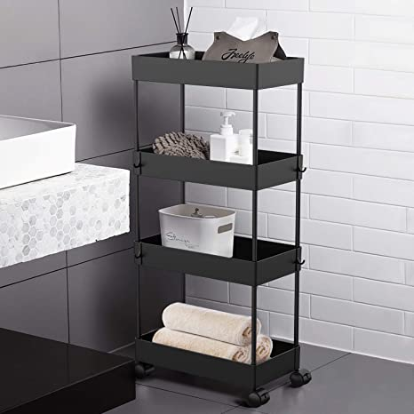 Aojia 4 Tier Slide Out Storage Cart Bathroom Storage Organizer Rolling Utility Cart Bathroom Storage Cart With Wheels Mobile Shelf Units For Bathroom Kitchen Bedroom Laundry Kitchen Dining