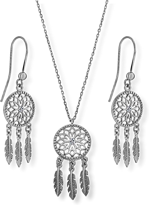 LillyMarie - Juego de joyas de plata para mujer, diseño de atrapasueños, colgante Swarovski Elements, incoloro, longitud ajustable, bolsa de satén bonitos regalos para mujeres