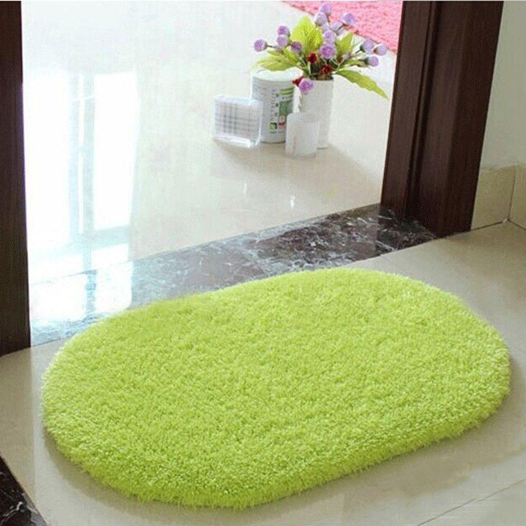 Polymer Absorption Bath Mat Soft Floor Rug Bedroom Cozy Shaggy Rug Oval Living Room Carpet (Green) by Polymer (Image #3)