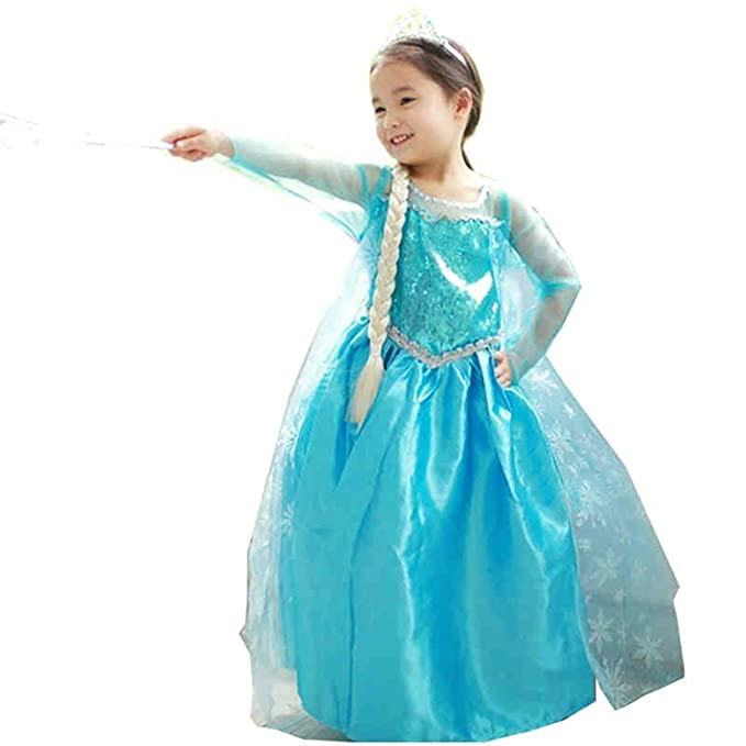 Vestito Principessa Bambina Dress Carnevale Costume Bimba childen Blu 808   Amazon.it  Abbigliamento ebdb206b77c