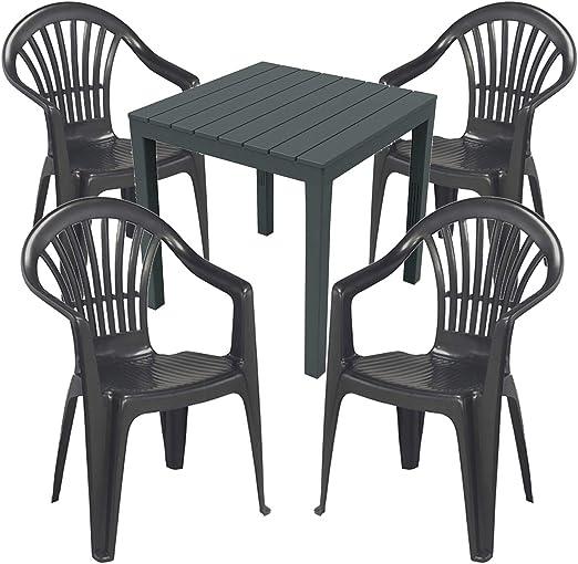 Mojawo - Juego de Mesa y sillas de jardín (5 Piezas, plástico, 79 ...