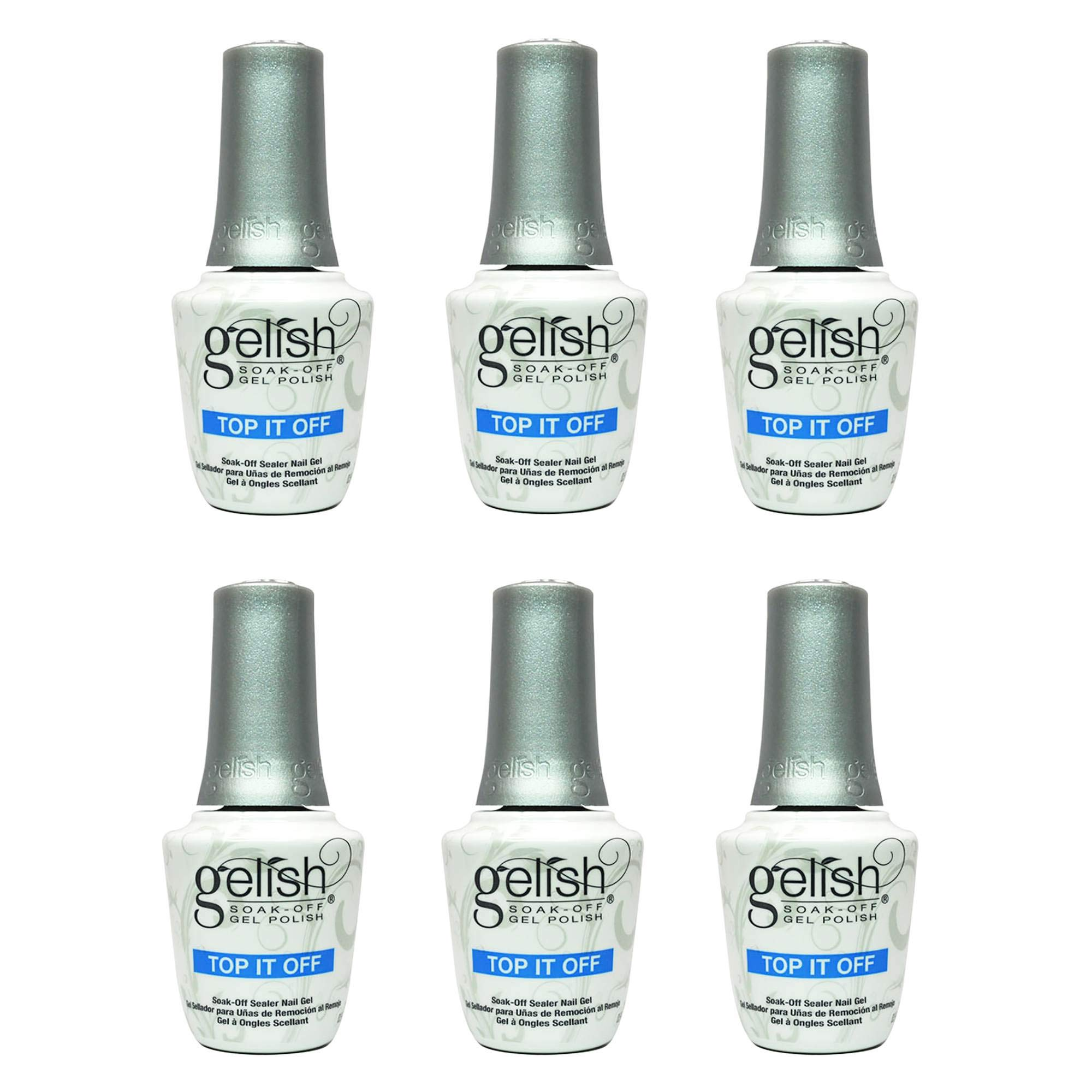 Gelish Harmony 0.5 Fluid Oz. Soak-Off Top-It-Off Sealer Gel Polish Coat (6 Pack) by Gelish