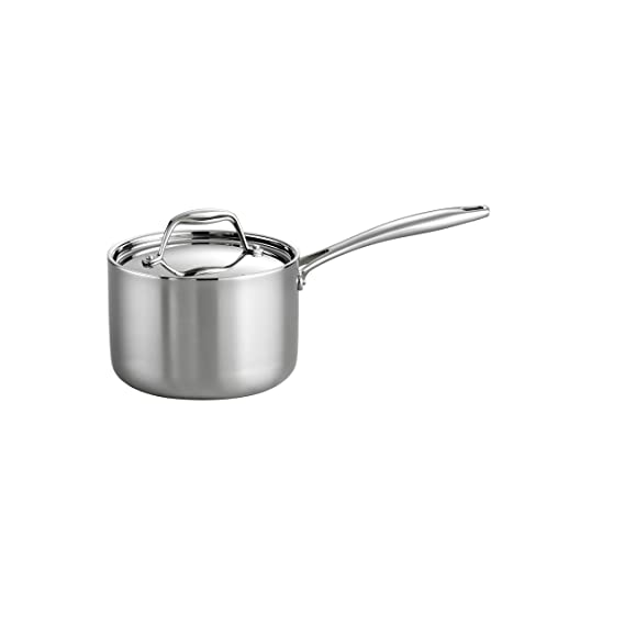 Tramontina 80116/022 Ds Gourmet Stainless Steel Induction Ready Tri Ply Clad Covered Sauce Pan, 2 Quart, Nsf Certified, Made In Brazil by Tramontina