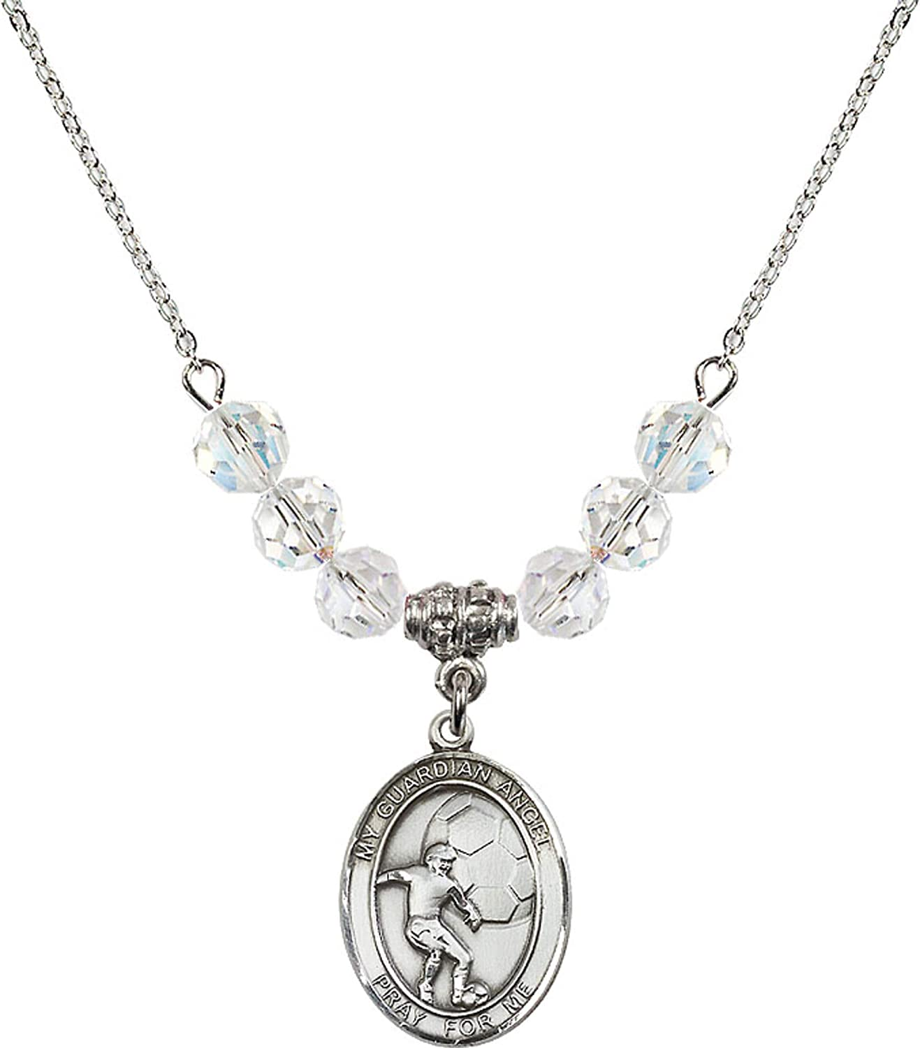 Bonyak Jewelry 18 Inch Rhodium Plated Necklace w// 6mm White April Birth Month Stone Beads and Guardian Angel//Soccer Charm