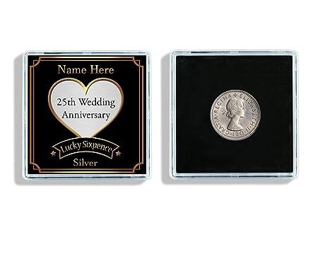 Personalised 25th Silver Wedding Anniversary Lucky Sixpence Keepsake