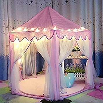NO.7Artisan Kids Tent Princess Castle Girls Playhouse Tunnel with 23 Feet and 50 Led : girls tent - memphite.com