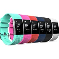 Fitbit Charge 2 Band, MoKo [6 PACK] Soft Silicone Adjustable Replacement Sport Strap Band for 2016 Fitbit Charge 2 Heart Rate Fitness Wristband.