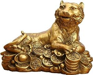 J.Mmiyi Tiger Statues and Figurines Feng Shui Decor, Chinese Handmade Brass Lucky Tiger Sculptures Attract Wealth Desktop Figurine, Home Decor Housewarming Congratulatory Gift,Brass