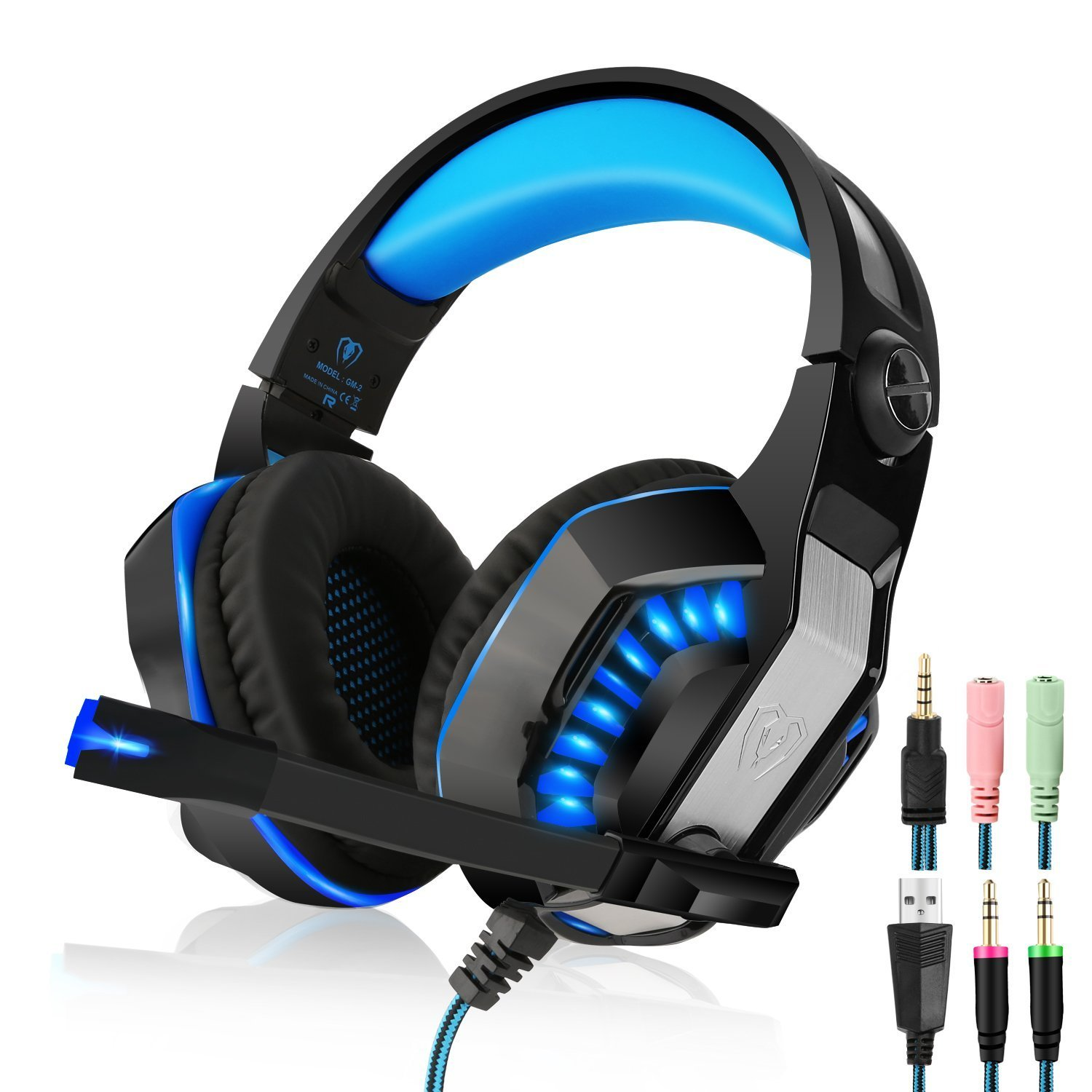 Beexcellent Gaming Headset with Microphone, LED Lights and Volume Control, GM-2 3.5mm Over Ear Headphones for Video Games Devices, PC, Laptops, Smartphones by Beexcellent