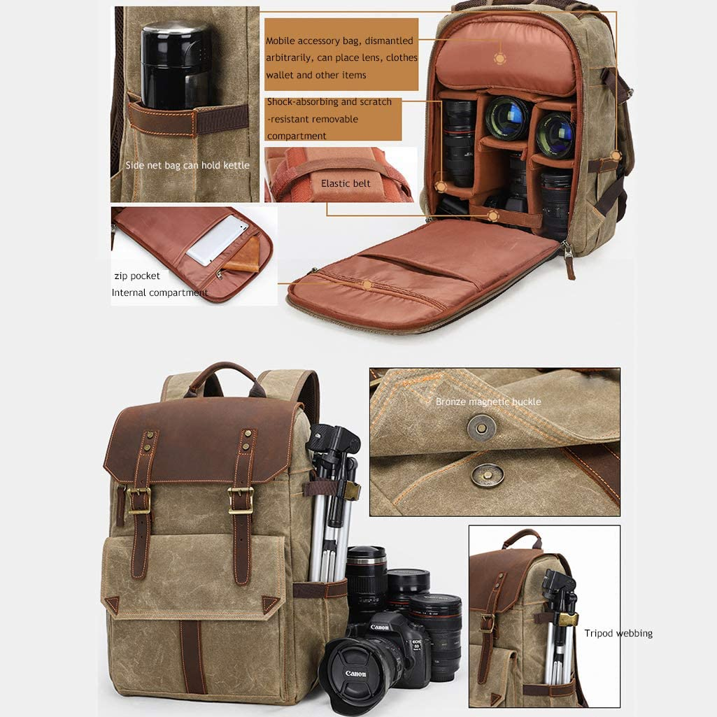 Lens,Laptop and Accessories Travel Use Vintage Waterproof Photography Canvas Bag for Camera CHZHENG Camera Backpack