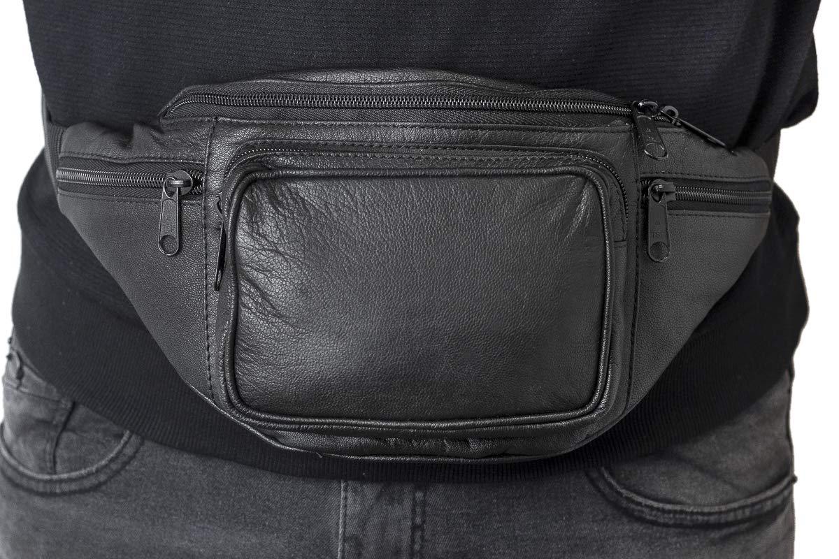 LEAS Sac banane noir Travel-Line cuir v/éritable