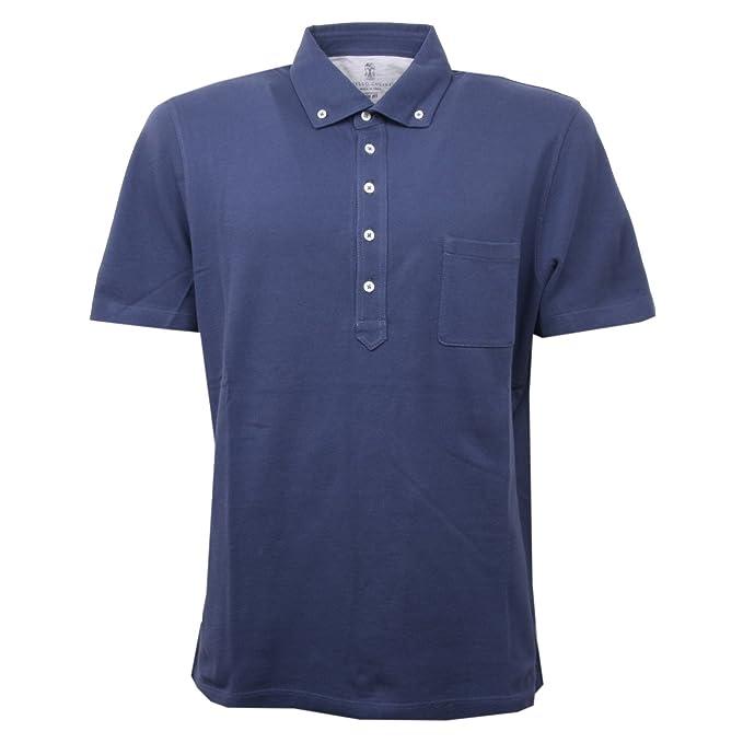 Brunello Cucinelli C1624 polo uomo BRUNELLO CUCINELLLI blu maglia t-shirt  polo men  XXL 8bc720edd8e
