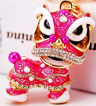Lovely chino León baile de la cadena clave colgante para la ...