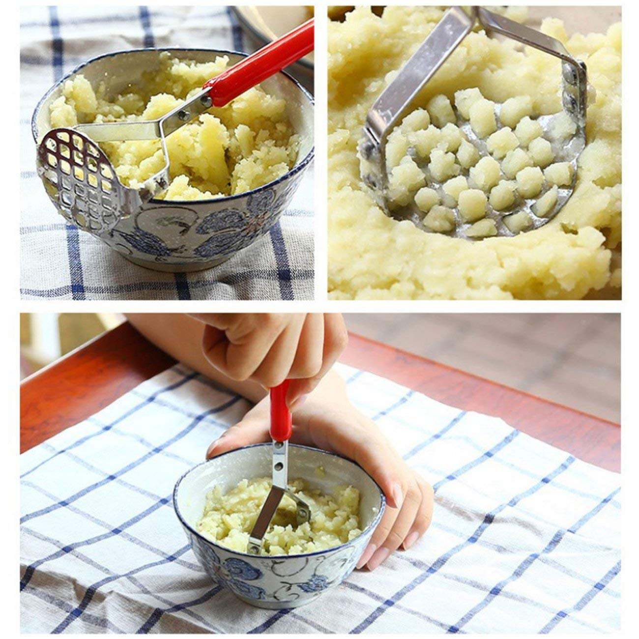 Elviray Stainless Steel Potato Fruit Sweet Potato Masher