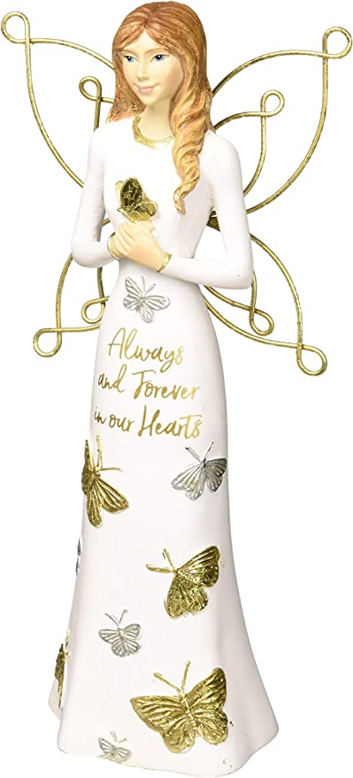 """Amazon.com: Pavilion Gift Company Always & Forever in Our Hearts-7.5 Inch  White & Gold in Memory Figurine 7.5"""" Angel Holding a Butterfly, Tall, Gold:  Home & Kitchen"""