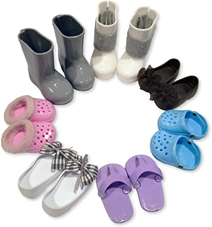 """Light Blue Fuzzy Slippers Fits 18/"""" American Girl Dolls"""