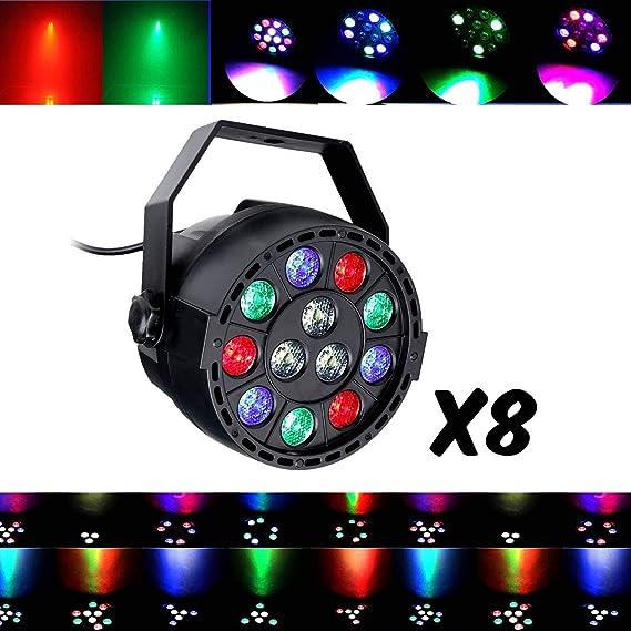 Juegos de luces DJ Pack Light 8 par Mini con LEDs RGBW 12 x 3 W ...