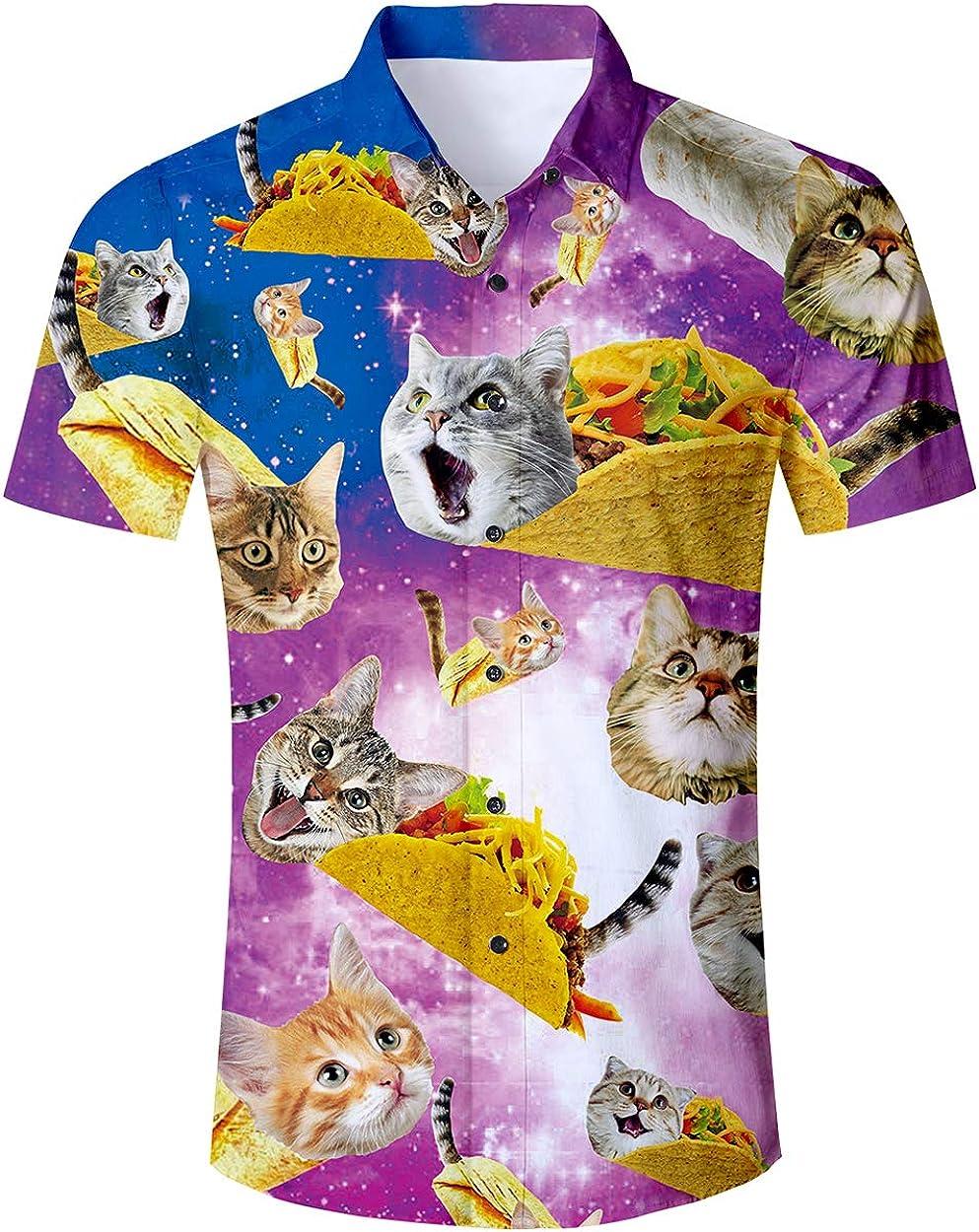 RAISEVERN Mens Button Down Shirts Slim-fit Short Sleeve Dress Shirt Casual Hawaiian Summer Aloha Beach Shirts for Holiday